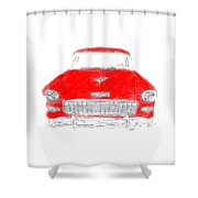 Red Chevy T-shirt Shower Curtain