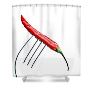 Red Chili Pepper On A Fork Shower Curtain