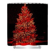 Red Christmas Tree Shower Curtain