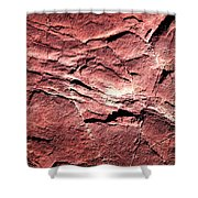 Red Colored Limestone With Grooves Shower Curtain