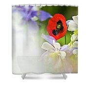 Red Corn Poppy Shower Curtain