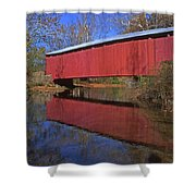 Red Covered Bridge And Reflection Shower Curtain