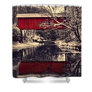 Red Covered Bridge In Winter Shower Curtain