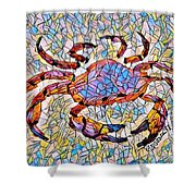 Red Crab Stained Glass Shower Curtain