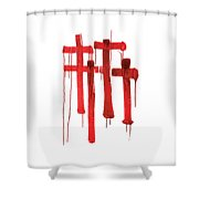 Red Crosses Shower Curtain