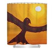 Red Crow Repulsing The Monkey Original Painting Shower Curtain
