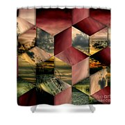 Red Cube Textures Shower Curtain