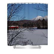 Red Dam And Percy Peaks In Winter Shower Curtain