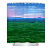 Red Dawn Over The Palouse Shower Curtain by Mike  Dawson