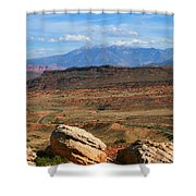Red Desert With La Sal Mountains Shower Curtain
