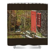 Red Door At The Grist Mill In Fall 2017  Shower Curtain