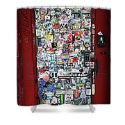 Red Doorway With Stickers Shower Curtain