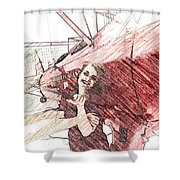 A Red Dress And A  Biplane Shower Curtain