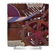 Red Drive Cog Shower Curtain