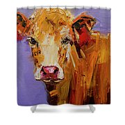 Red Earring Cow Shower Curtain