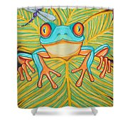 Red Eyed Tree Frog And Dragonfly Shower Curtain
