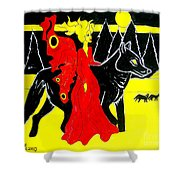 Red Faerie And Black Wolf With Yellow Moon Shower Curtain