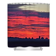 Red Farm Sunrise Shower Curtain