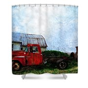 Red Farm Truck Shower Curtain