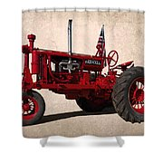 Red Farmall Tractor Shower Curtain