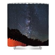 Red Fence Milky Way Shower Curtain