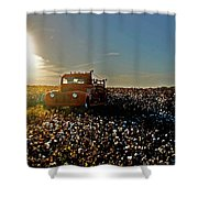 Red Fire Truck And The Sun Shower Curtain