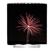 Red Fireworks Shower Curtain