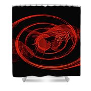 Red Fish Abstract Shower Curtain