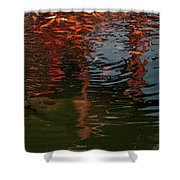 Red Fishes In A Pond Pictorial II Shower Curtain