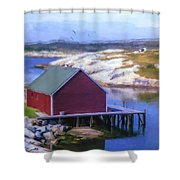 Red Fishing Shed On The Cove Shower Curtain