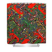 Red Five Wave Abstract Shower Curtain
