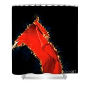 Red Flag On Black Background Shower Curtain