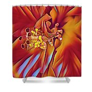 Red Flame Hibiscus Shower Curtain