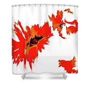 Red Floating Florals Shower Curtain