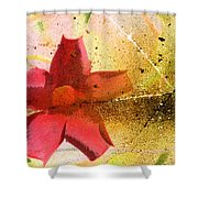 Red Floral Grunge Shower Curtain