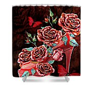 Red Floral Heels Shower Curtain