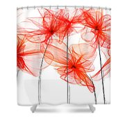 Red Floral - Red Modern Art II Shower Curtain