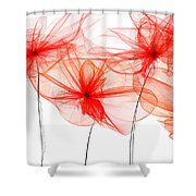 Red Floral - Red Modern Art Shower Curtain