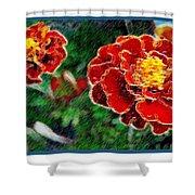 Red Flower In Autumn Shower Curtain