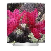 Red Flowered Peach Shower Curtain