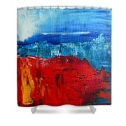 Red Flowers Blue Mountains - Abstract Landscape Shower Curtain