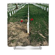 Red Flowers In Arlington Shower Curtain