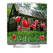 Red Flowers In Central Park Shower Curtain