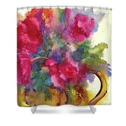 Red Flowers In Gold Vase Shower Curtain