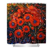 Red Flowers In The Night Shower Curtain