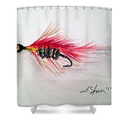 Red Fly Tie Shower Curtain