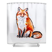 Red Foxie Shower Curtain