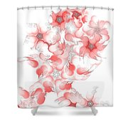 Red Fractal Floral Pattern Shower Curtain