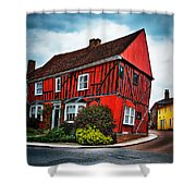 Red Frame House In Lavenham, England. Shower Curtain