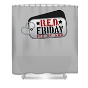 Red Friday For My Mom Military Dog Tags Shower Curtain